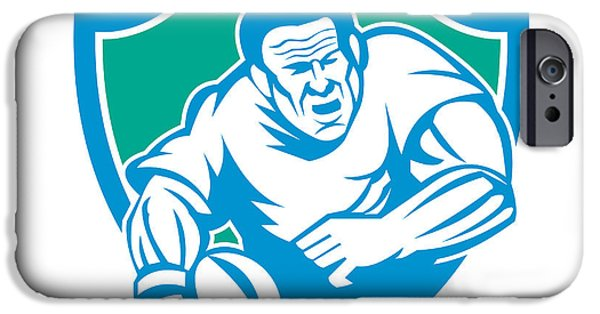 Printmaking iPhone Cases - Rugby Player Running Ball Shield Linocut iPhone Case by Aloysius Patrimonio