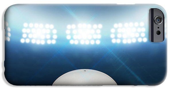 Night Lamp iPhone Cases - Rugby Stadium And Ball iPhone Case by Allan Swart