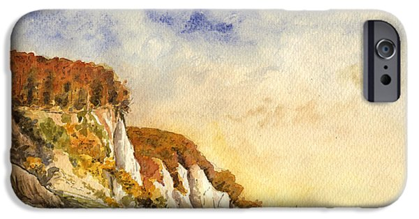 Lighthouse iPhone Cases - Rugen cliffs iPhone Case by Juan  Bosco