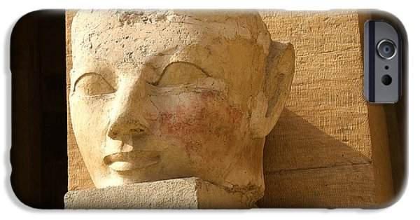 Hathor iPhone Cases - ruined head of Hatshepsut iPhone Case by Brenda Kean