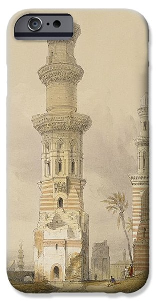 Ancient Paintings iPhone Cases - Ruined Mosques in the Desert iPhone Case by David Roberts