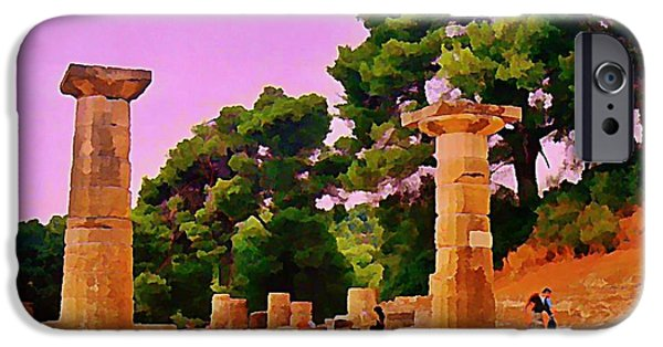 Painter Photo Photographs iPhone Cases - Ruins at Olympus Greece iPhone Case by John Malone