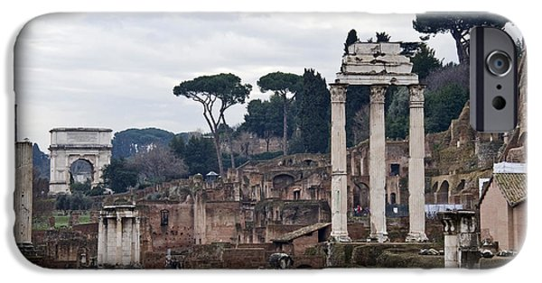 Province iPhone Cases - Ruins Of A Building, Roman Forum, Rome iPhone Case by Panoramic Images