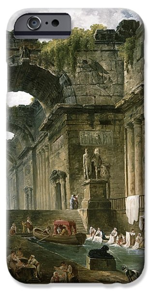 Recently Sold -  - Ruin iPhone Cases - Ruins of a Roman Bath with Washerwomen iPhone Case by Hubert Robert