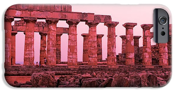 Hera iPhone Cases - Ruins Of A Temple, Temple E, Selinunte iPhone Case by Panoramic Images