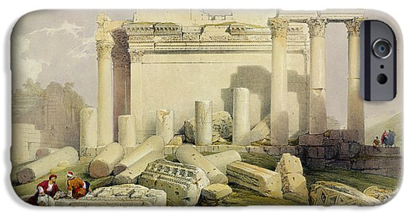 Landscapes Drawings iPhone Cases - Ruins Of The Eastern Portico iPhone Case by David Roberts