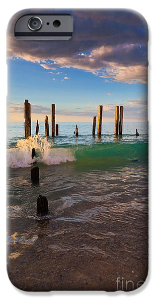 Ruin iPhone Cases - Ruins of the old Port Willunga Jetty iPhone Case by Bill  Robinson