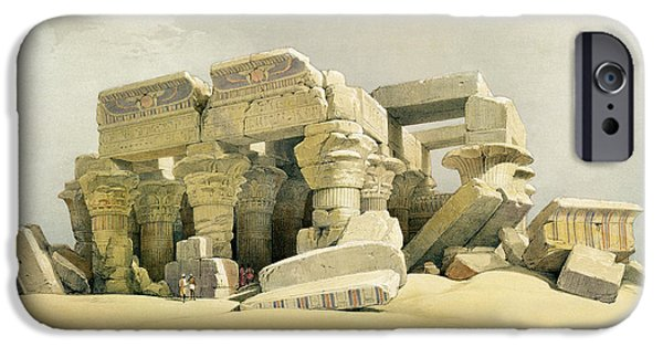 Remnant iPhone Cases - Ruins of the Temple of Kom Ombo iPhone Case by David Roberts