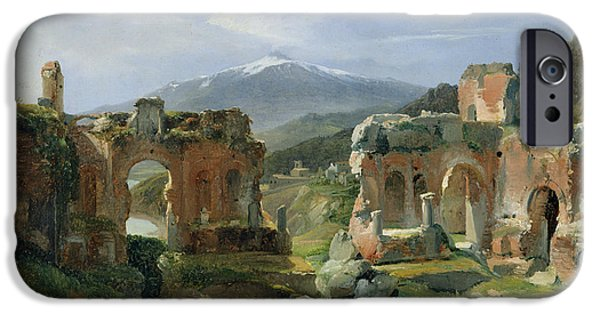 Sicily Paintings iPhone Cases - Ruins of the Theatre at Taormina iPhone Case by Achille Etna Michallon