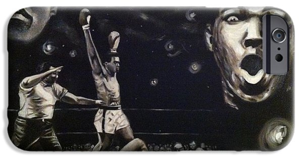 Champ Boxer iPhone Cases - Rumble Young Man Rumble iPhone Case by Larry Silver