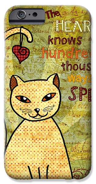 Sun Rays Digital iPhone Cases - Rumi Cat Heart iPhone Case by Cat Whipple