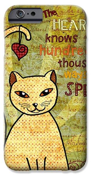 Sun Rays Digital Art iPhone Cases - Rumi Cat Heart iPhone Case by Cat Whipple