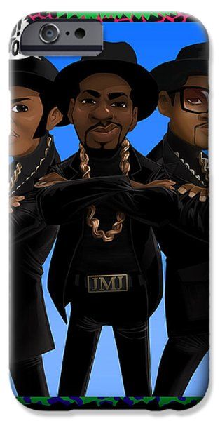 Jam Digital Art iPhone Cases - RUN DMC NTV Card iPhone Case by Nelson Dedos Garcia