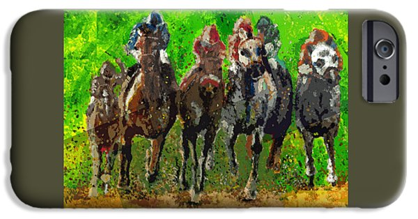 Kentucky Derby Drawings iPhone Cases - Run  iPhone Case by Ellsbeth Page