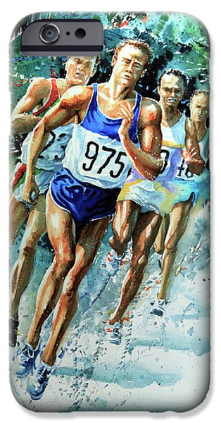 Sports Artist iPhone Cases - Run For Gold iPhone Case by Hanne Lore Koehler