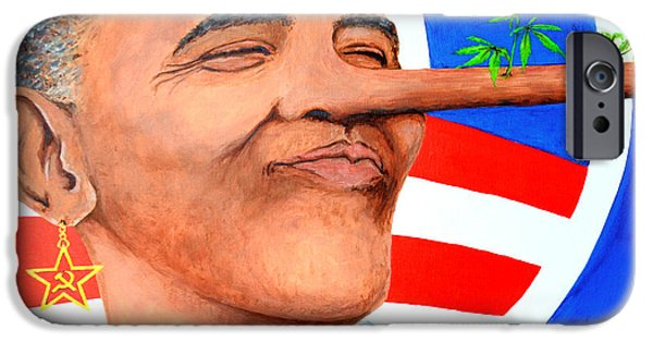 Obama iPhone Cases - Run Out Of Canvas iPhone Case by Victor Minca