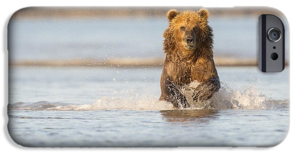 Born Adult iPhone Cases - Running after the Salmon iPhone Case by Tim Grams