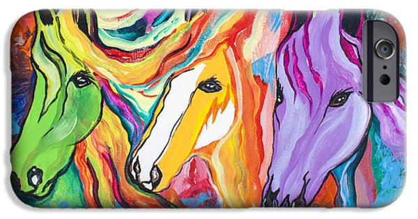 Horse iPhone Cases - Running Against The Wind iPhone Case by Janice Rae Pariza