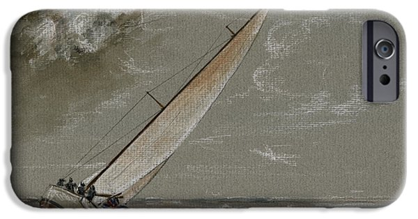 Storm Paintings iPhone Cases - Running away from the storm iPhone Case by Juan  Bosco