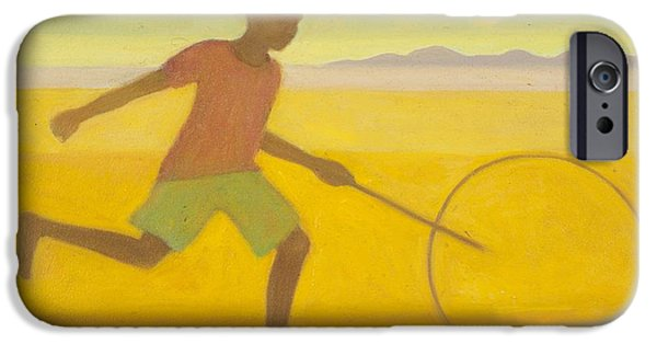 Freedom iPhone Cases - Running Boy,2010 Oil On Canvas iPhone Case by Tilly Willis