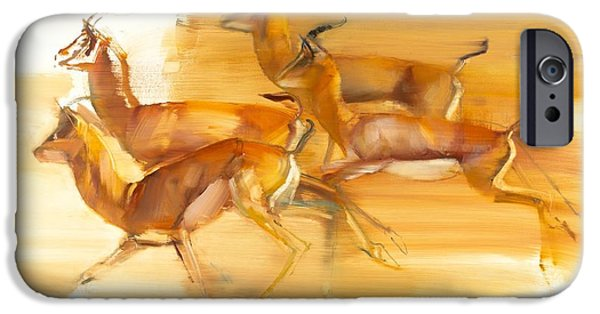 On Paper Paintings iPhone Cases - Running Gazelles iPhone Case by Mark Adlington