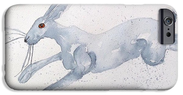 March Hare iPhone Cases - Running Hare iPhone Case by Karen  Connolly