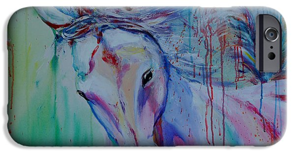Horse Racing Drawings iPhone Cases - Running in shades of pink and blue iPhone Case by Isabel Salvador