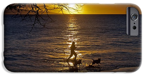 Dog In Landscape iPhone Cases - Running in the sun with dogs iPhone Case by Atit Shah