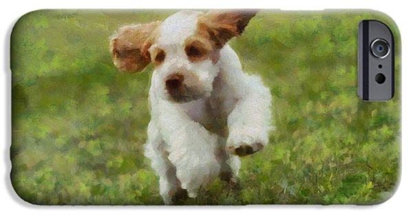 Cute Puppy iPhone Cases - Running Puppy Cocker Spaniel iPhone Case by Dan Sproul