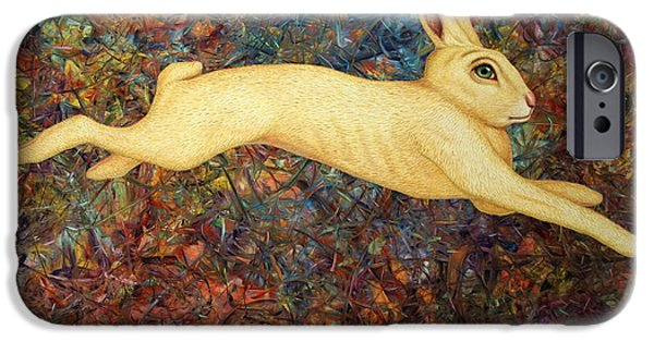 Rabbit iPhone Cases - Running Rabbit iPhone Case by James W Johnson