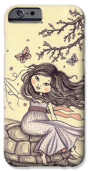Little Girl iPhone Cases - Running to the spring iPhone Case by Snezana Kragulj