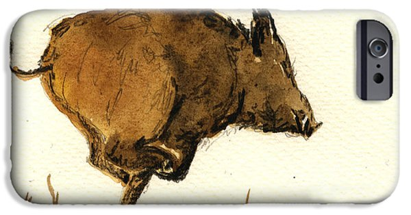 Original Watercolor iPhone Cases - Running wild boar iPhone Case by Juan  Bosco