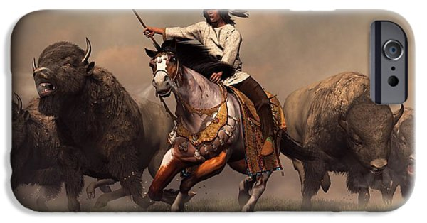 The Horse iPhone Cases - Running With Buffalo iPhone Case by Daniel Eskridge