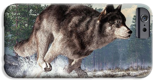Loup iPhone Cases - Running Wolf iPhone Case by Daniel Eskridge