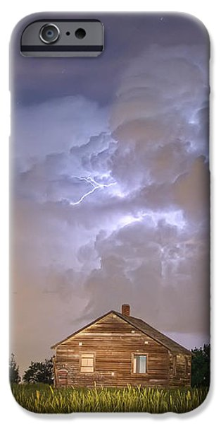 Rural Country Cabin Lightning Storm iPhone Case by James BO  Insogna