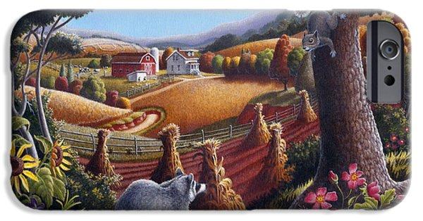 Farm iPhone Cases - Rural Country Farm Life Landscape folk art Raccoon Squirrel Rustic Americana scene  iPhone Case by Walt Curlee