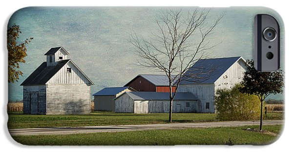 Antiques iPhone Cases - Rural Farm Central IL Textured Sky iPhone Case by Thomas Woolworth