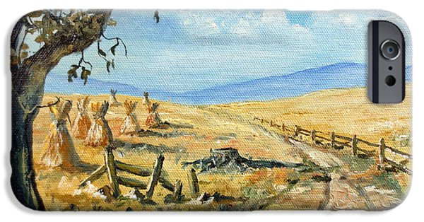 Field. Cloud iPhone Cases - Rural Farmland Americana Folk Art Autumn Harvest Ranch iPhone Case by Lee Piper