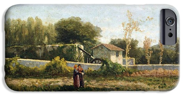 19th Century iPhone Cases - Rural landscape iPhone Case by Ernesto Rayper