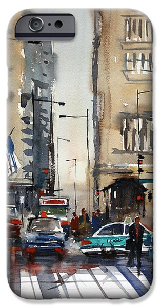Chicago Paintings iPhone Cases - Rush Hour - Chicago iPhone Case by Ryan Radke