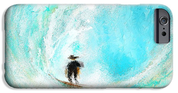 Surfing iPhone Cases - Rushing Beauty- Surfing Art iPhone Case by Lourry Legarde