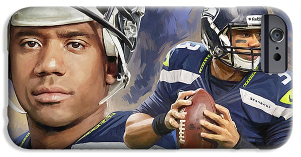 Seattle Seahawks iPhone Cases - Russell Wilson Artwork iPhone Case by Sheraz A