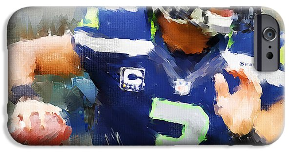 Fanatic iPhone Cases - Russell Wilson iPhone Case by Lourry Legarde