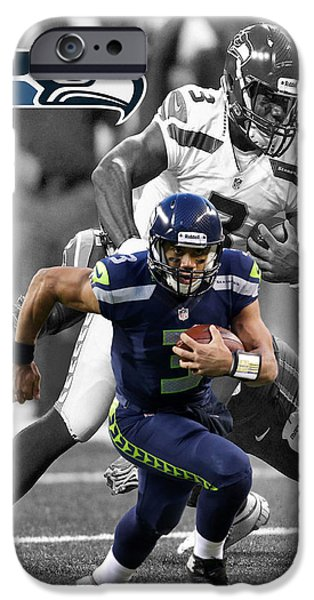 Seattle Seahawks iPhone Cases - Russell Wilson Seahawks iPhone Case by Joe Hamilton