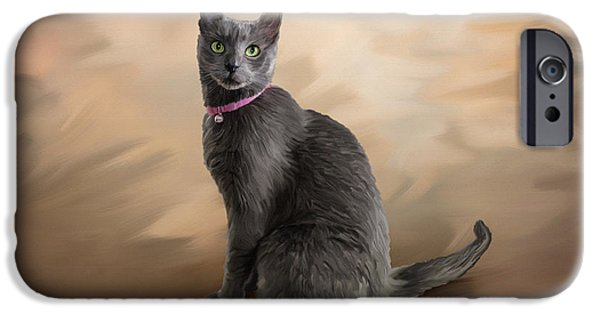 House Pet Paintings iPhone Cases - Russian Blue Cat iPhone Case by Angela A Stanton