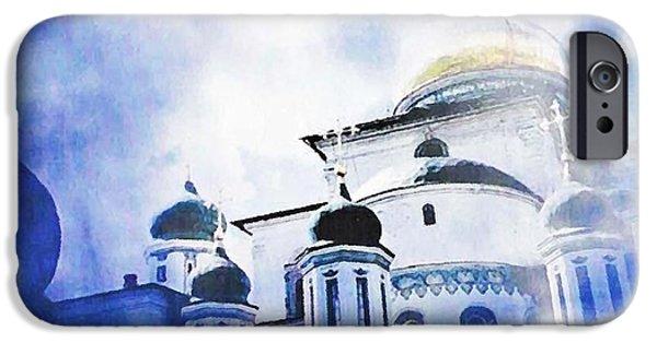 Sarah Loft iPhone Cases - Russian Church in a Blue Cloud iPhone Case by Sarah Loft