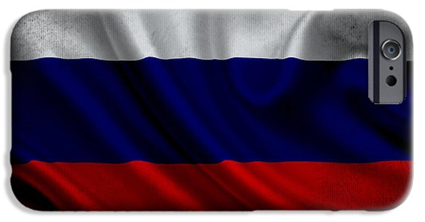 Waving Flag Mixed Media iPhone Cases - Russian flag waving on canvas iPhone Case by Eti Reid