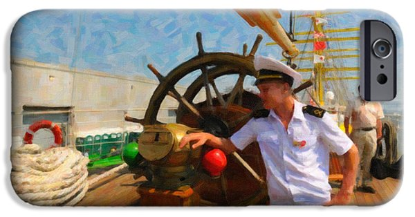 Tall Ship Mixed Media iPhone Cases - Russian Sailor iPhone Case by Dale Powell