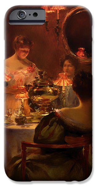 Tea Party Paintings iPhone Cases - Russian Tea iPhone Case by Irving Wiles