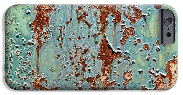 Rust Photographs iPhone Cases - Rust and Paint iPhone Case by Olivier Le Queinec